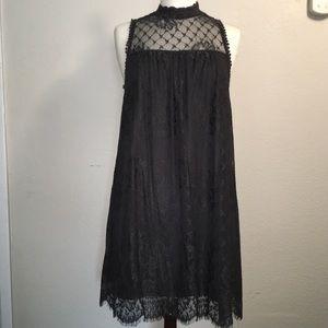 Taylor & Sage Charcoal Gray Lace Midi Dress Medium